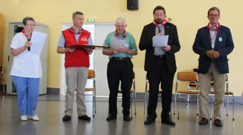 Bernadette, Benoît, l'abbé Vervier, Mgr Delville et Jean-Charles Gottschalk